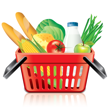 Shopping basket with food isolated on white photo-realistic vector illustration Vector