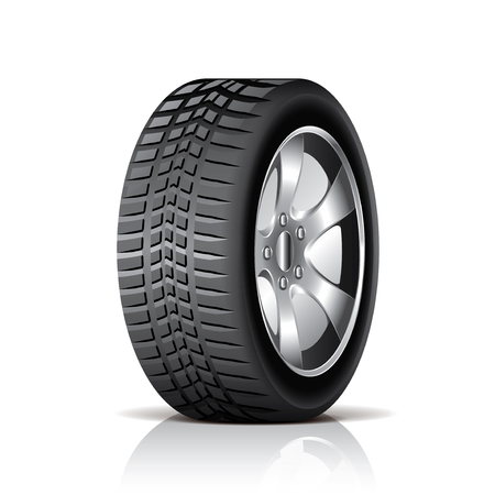 car tire: Car tire isolated on white photo-realistic vector illustration