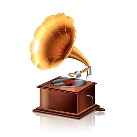 phonograph: Classic gramophone isolated on white photo-realistic vector illustration