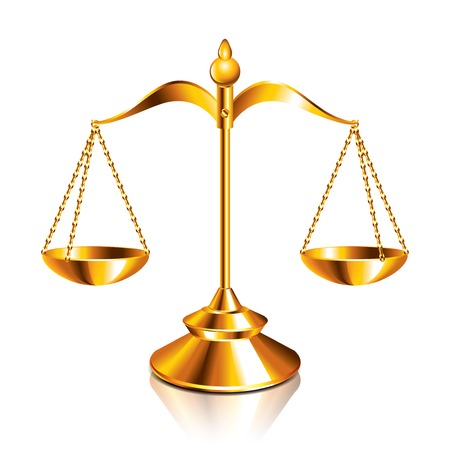 attorney scale: Scales of justice isolated on white vector illustration
