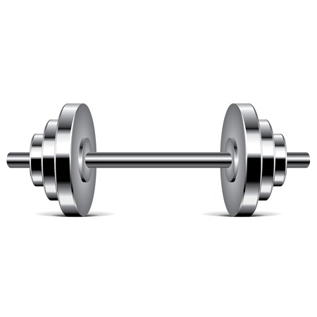 Metal dumbbell isolated on white photo-realistic vector illustration Vector