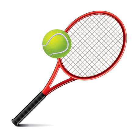 photorealistic: Tennis racket and ball isolated photo-realistic vector illustration