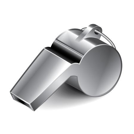 Metalen fluitje op wit wordt geïsoleerd foto-realistische vector illustratie