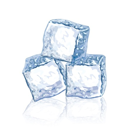 写実的な図は白で隔離のアイス キューブ  イラスト・ベクター素材