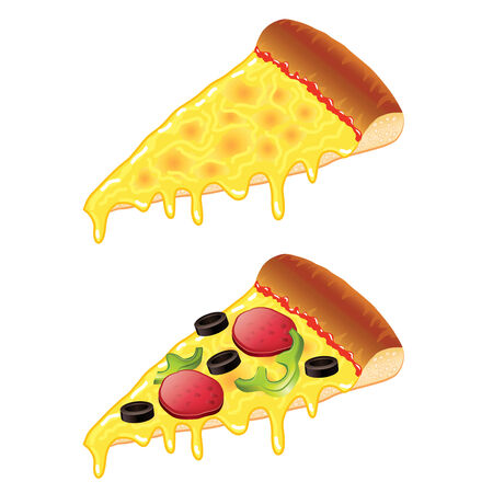Slices of pizza isolated photo-realistic illustration
