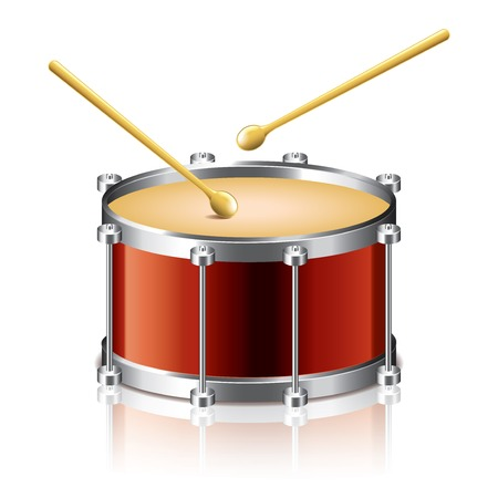 snare: Bass drum vector isolated on white photo-realistic  illustration Illustration