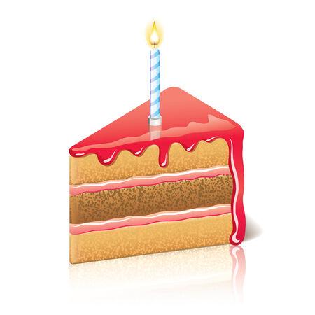 Piece of cake with jam photo-realistic illustration Illustration