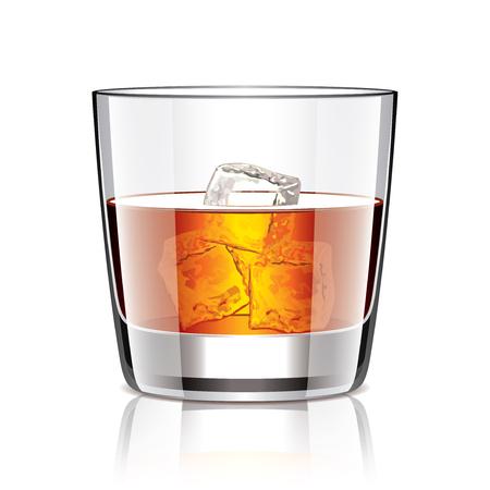 whisky: Glass of whiskey isolated photo-realistic illustration