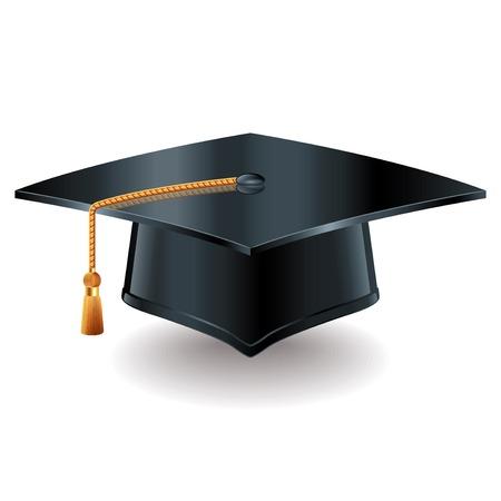 gorra: Casquillo de la graduación aislado en blanco foto-realista ilustración vectorial