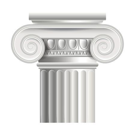 Roman lub greckie kolumny samodzielnie na białym fotorealistycznych ilustracji wektorowych