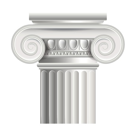Roman or greek column isolated on white photo-realistic vector illustration
