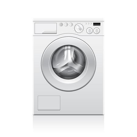 rinse: Washing machine isolated on white photo-realistic vector illustration Illustration