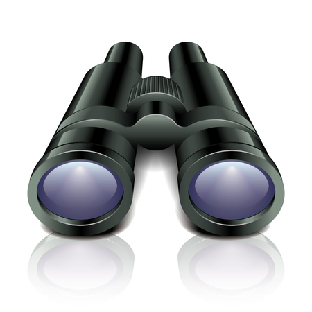 Black binoculars isolated on white photo-realistic vector illustration Vector