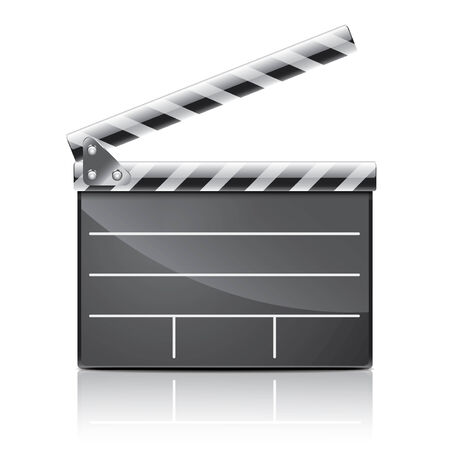 movie clapper: Clapper board isolated on white photo-realistic vector illustration