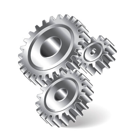 Three gear wheels isolated photo-realistic vector illustration Illustration