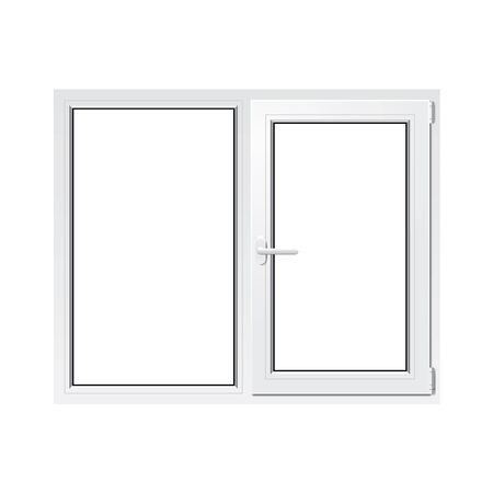 pane: White plastic window isolated photo-realistic vector illustration