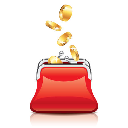 womanly: Red purse and coins isolated photo-realistic vector illustration