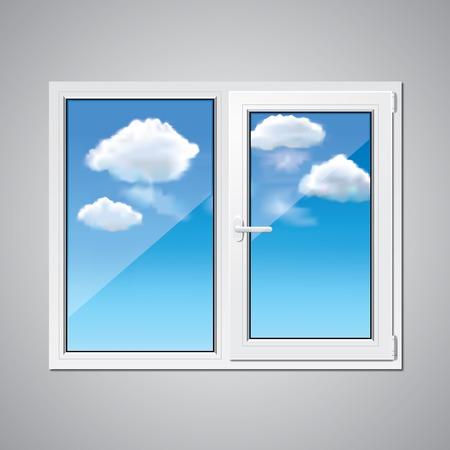 Kunststoff-Fenster und blauer Himmel mit Wolken hinter Vektor-Illustration Standard-Bild - 27347758