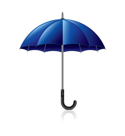 rainstorm: Classic blue umbrella isolated on white photo-realistic vector illustration