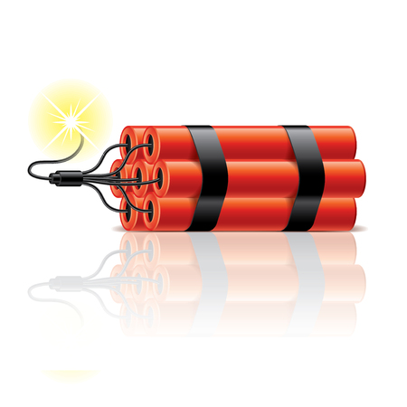 Dynamite sticks isolated on white photo-realistic vector illustration Illustration