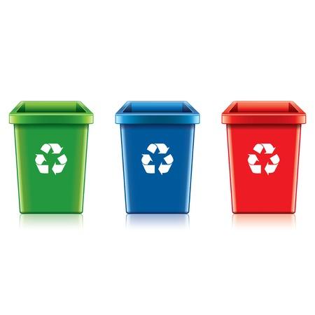 papelera de reciclaje: Recicle bin pl�stico aislado en blanco fotorrealista ilustraci�n vectorial Vectores
