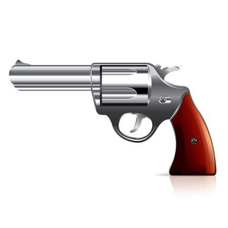 magnum: Old revolver isolated on white photo-realistic vector illustration Illustration