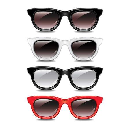 eyewear fashion: Stylish sunglasses isolated on white photo-realistic vector illustration