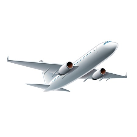 Flying airplane isolated on white photo-realistic vector illustration