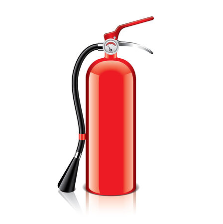 suppression: Fire extinguisher isolated on white photo-realistic vector illustration