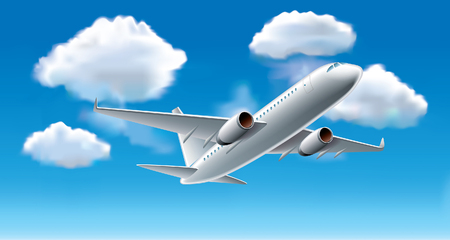 overseas: Airplane in blue sky with clouds photo-realistic vector illustration Illustration