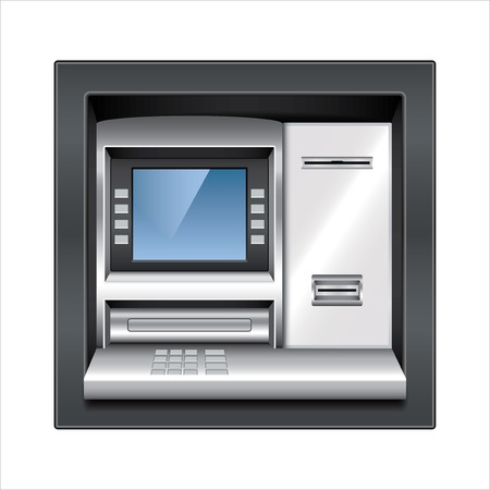 atm: Atm machine isolated on white photo-realistic vector illustration Illustration