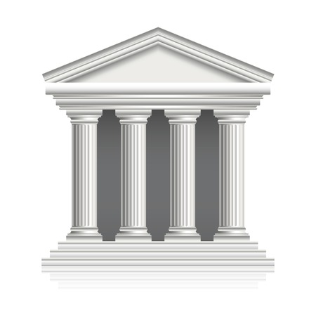 Greek temple isolated on white photo-realistic vector illustration Vector