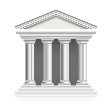 templo griego: Templo griego aislado en blanco fotorrealista ilustración vectorial