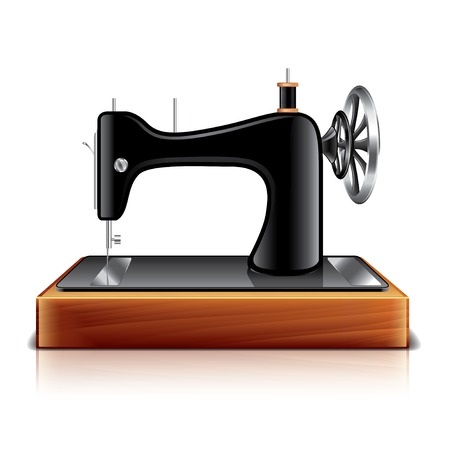 Sewing machine isolated on white photo-realistic vector illustration Vector