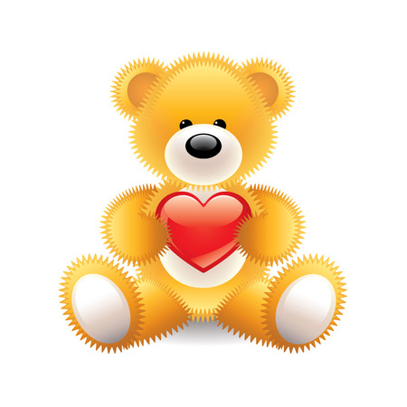 amorousness: Teddy bear with heart isolated vector illustration