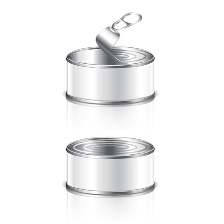 tinned: Empty tin can isolated photo-realistic vector illustration