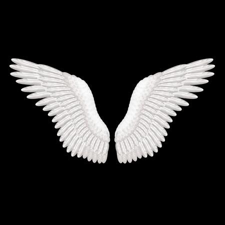 ali angelo: Ali bianche su nero foto-realistica illustrazione