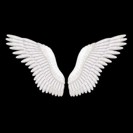 angel white: White wings on black photo-realistic illustration Illustration