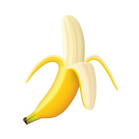 白の写実的なイラストに分離された熟したバナナ  イラスト・ベクター素材