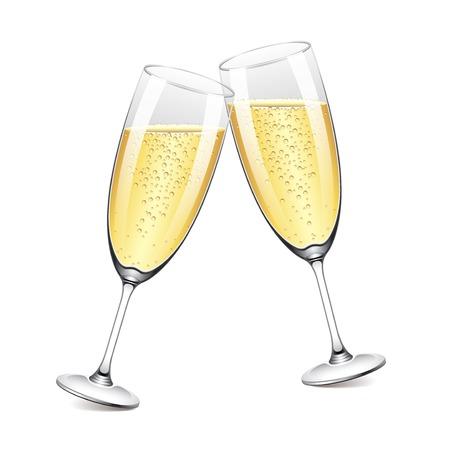 白の写実的なイラストに分離された 2 つのシャンパン グラス