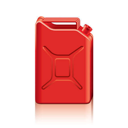 petrol can: Red jerrycan isolated on white photo-realistic illustration