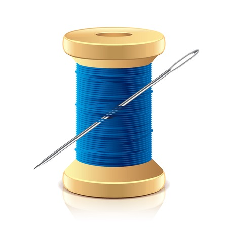 needle and thread: Needle and thread spool isolated on white photo-realistic illustration Illustration