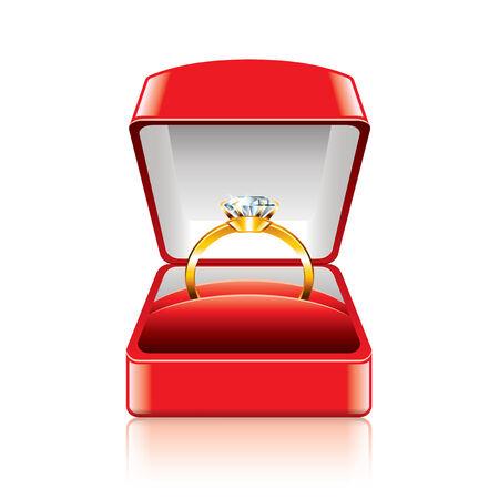 anillo de compromiso: Anillo de bodas en caja de regalo aislados en blanco fotorrealista ilustración Vectores