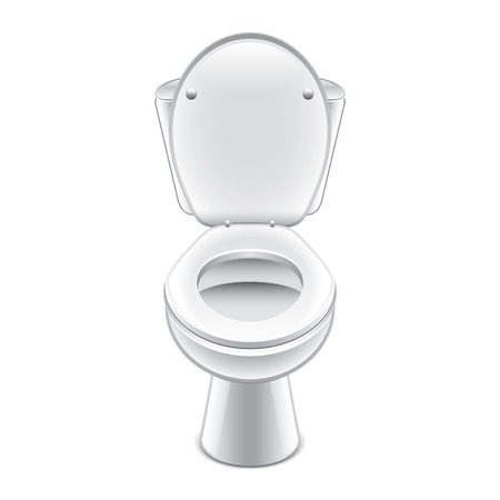 Toilet bowl isolated on white photo-realistic vector illustration Ilustração