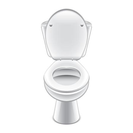 Toilet kom op een witte foto-realistische vector illustratie Stock Illustratie