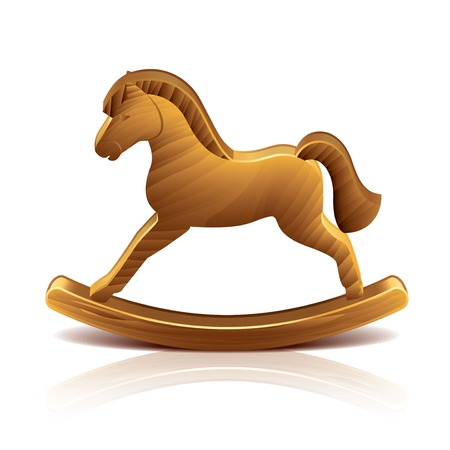 rocking horse: Wooden rocking horse isolated on white photo-realistic illustration Illustration
