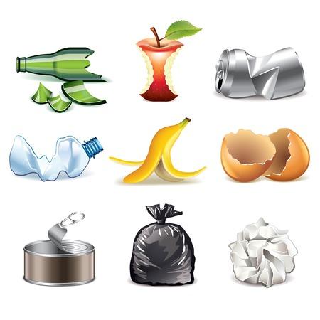 �garbage: Basura y desechos iconos detallan vector conjunto fotorrealista