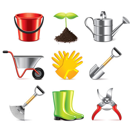 Gardening tools icons detailed photo-realistic vector set Vector