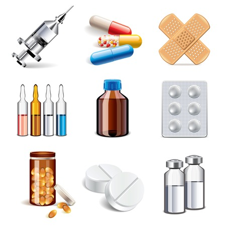 a drug: Medical pills and drugs icons photo-realistic vector set