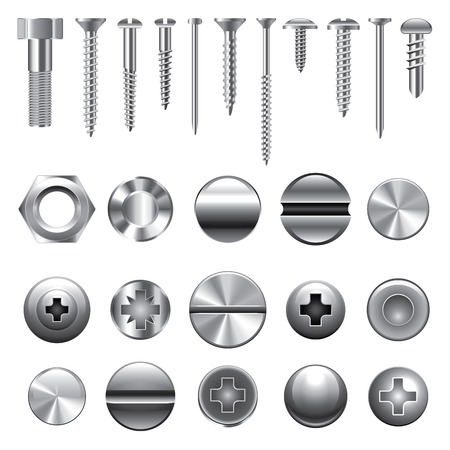 steel: Screws, nuts and rivets icons detailed vector set